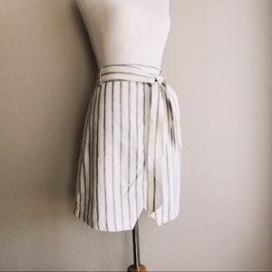 Blue+Cream Linen Blend Portside Stripe Wrap Skirt